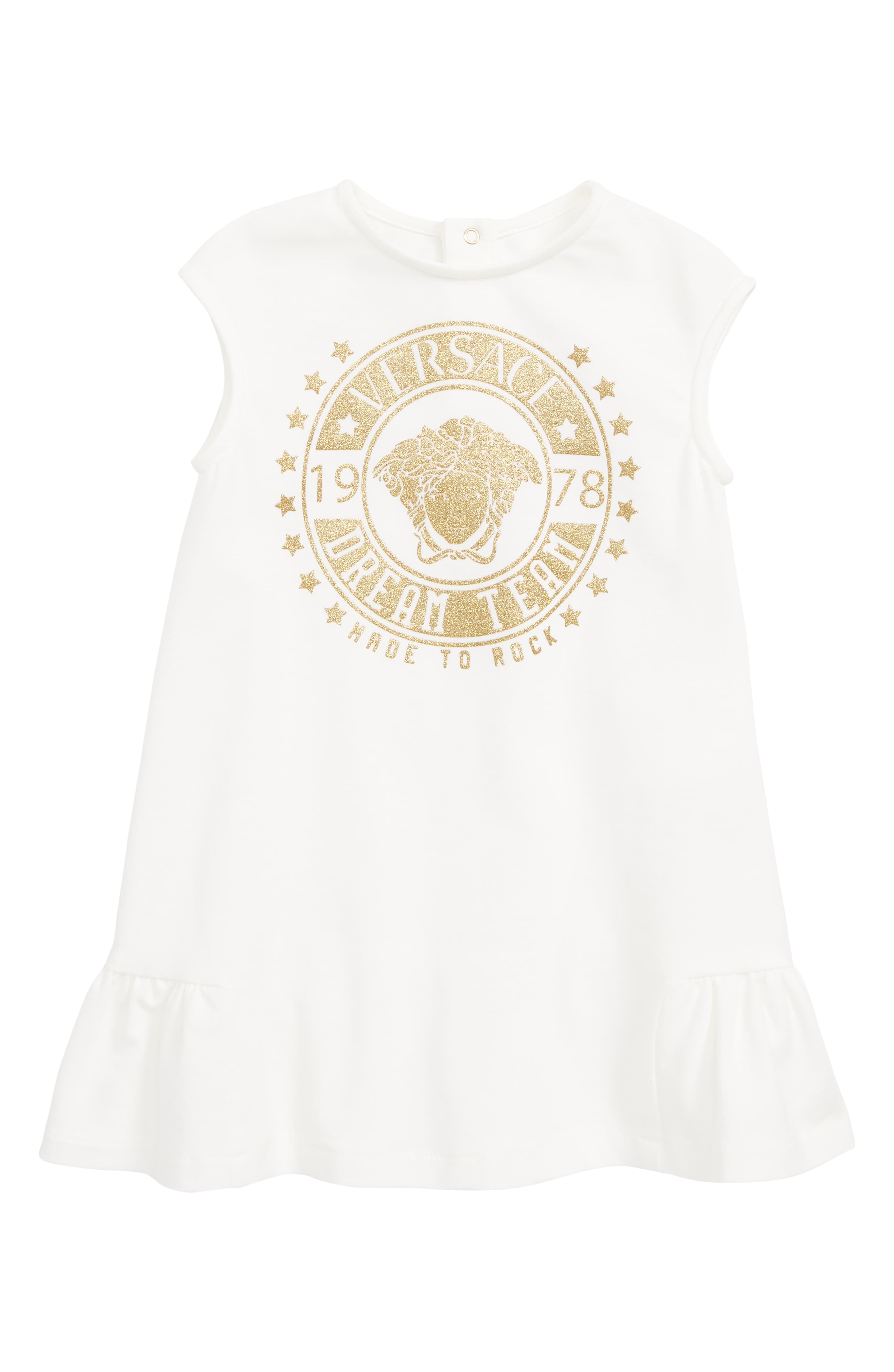 5ec55218 Infant Girl's Versace Logo Patch Sleeveless Dress, Size 24M - White ...