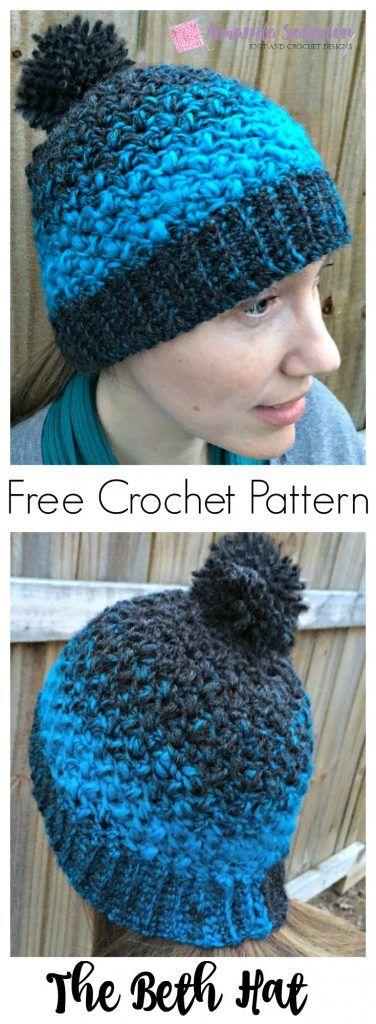 The Beth Hat - Free Crochet Pattern | Gorro tejido, Gorros y Tejido