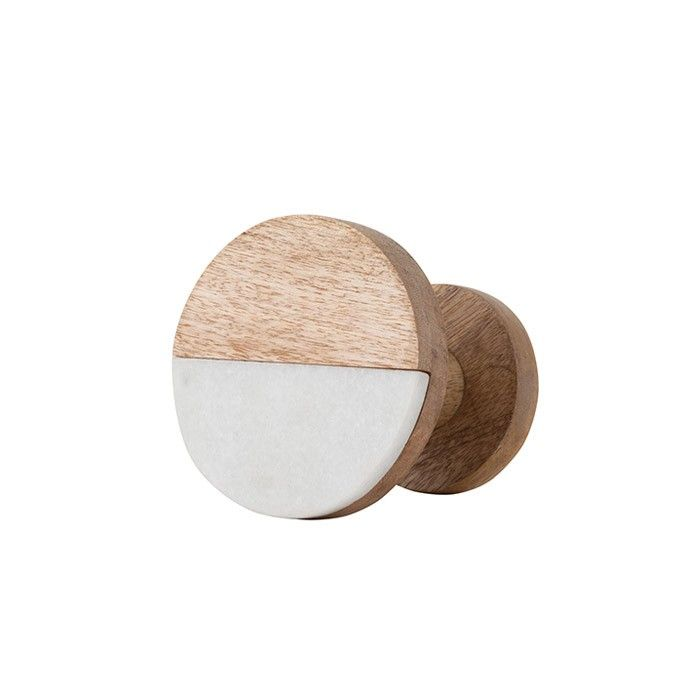 Wooden Hook with half marble