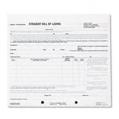 snap a way bill of lading in short form carbonless black print copies all parts numbered provides accurate contractual wording for complete documentation