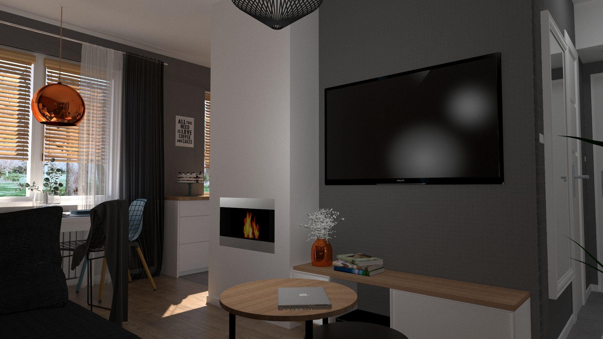Kominek W Malym Salonie Fireplace Kominek Salon Livingroom Flat Screen