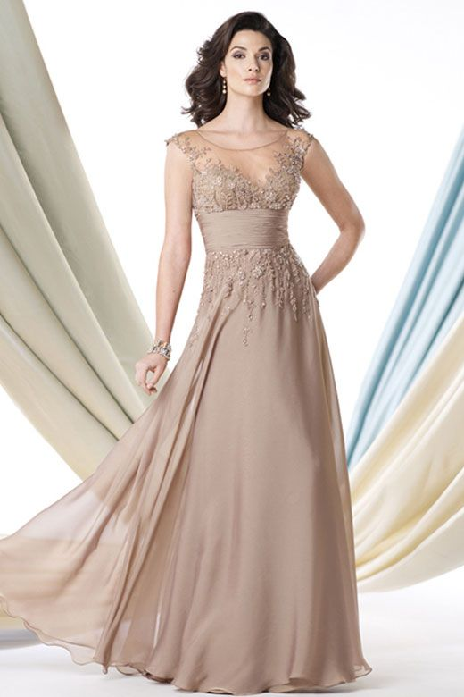 Champagne Colored Mother of the Bride Dresses | Cap Sleeve Evening ...