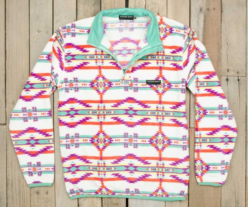 Southern Marsh Harbuck Fleece Quarter Zip Pullover with Aztec ...
