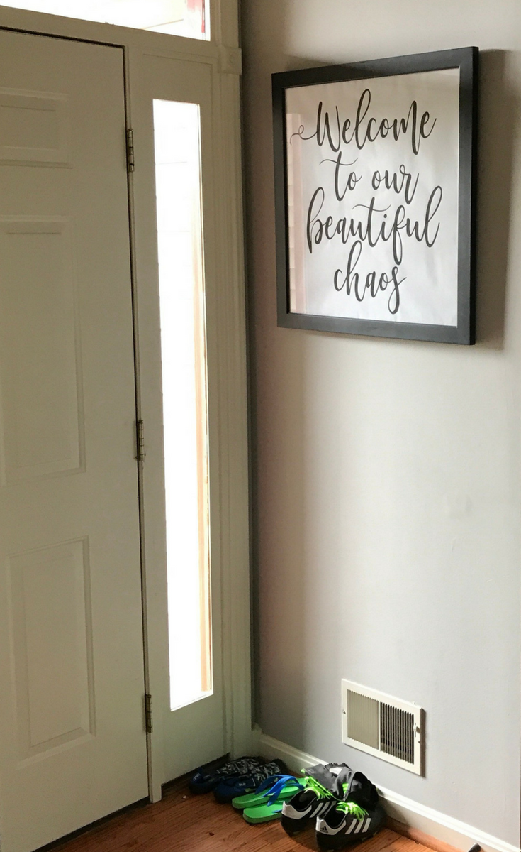 Printable wall art welcome to our beautiful chaos entryway sign