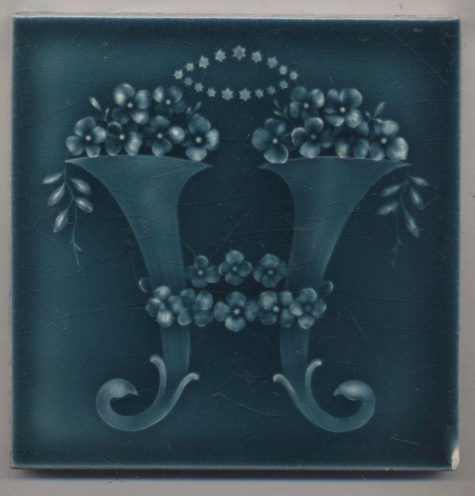 Super Rare Wessel Füllhörner Blüten Jugendstil Fliese Art Nouveau - Wessel keramik fliesen