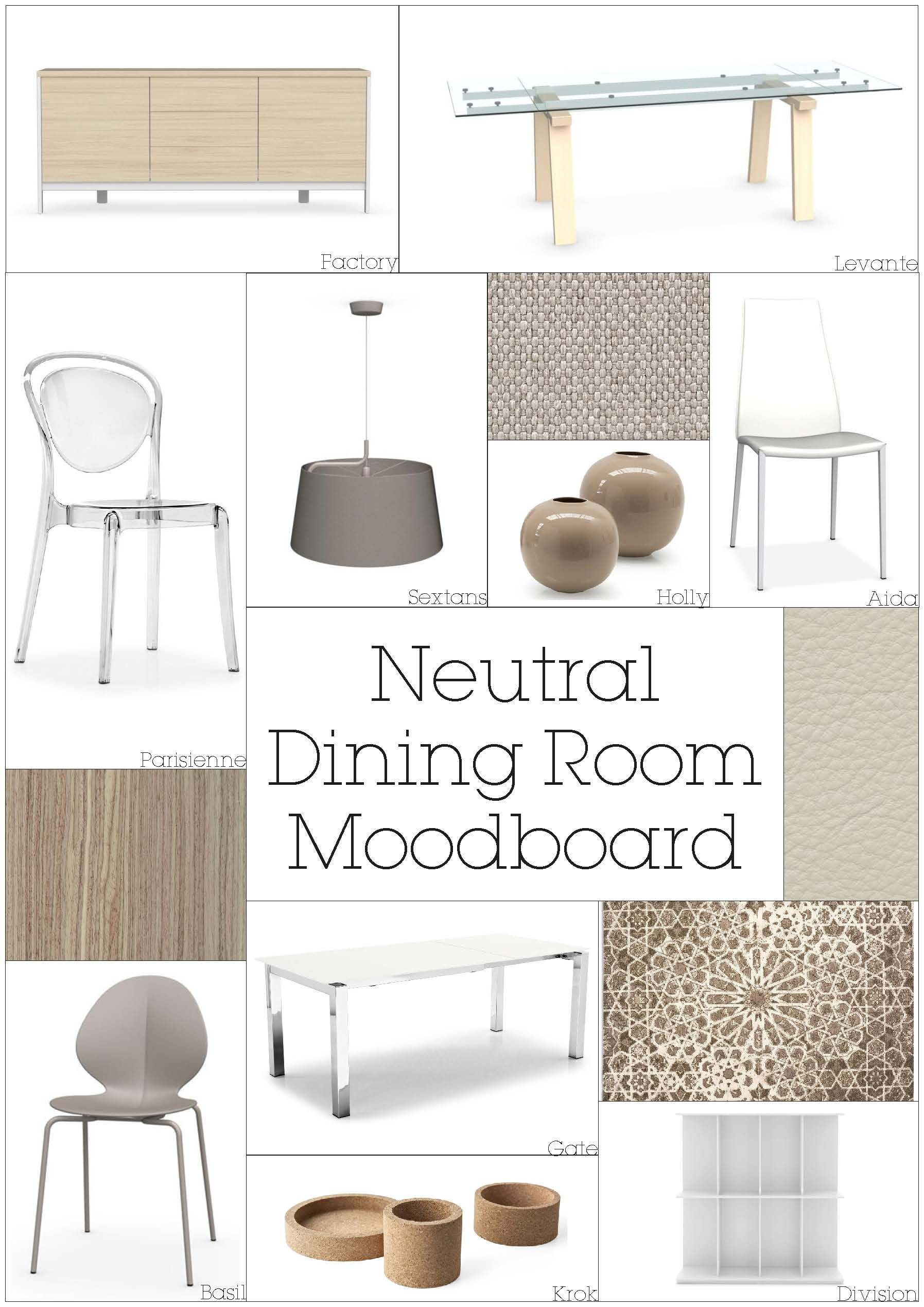 A soothing Neutral Mood board for a dining room using Calligaris products Names of the items are underneath each one All available at Design Icons