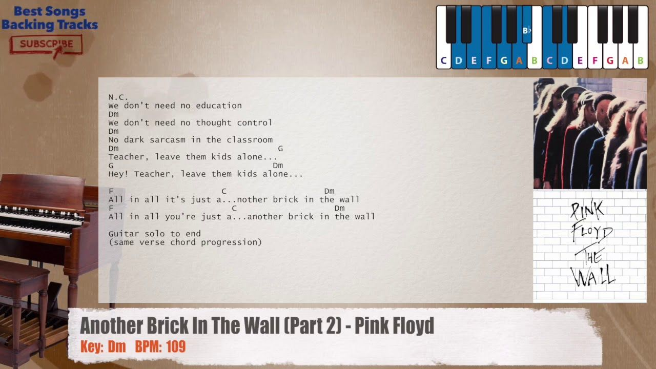 Another Brick In The Wall Part 2 Pink Floyd Piano Backing Track