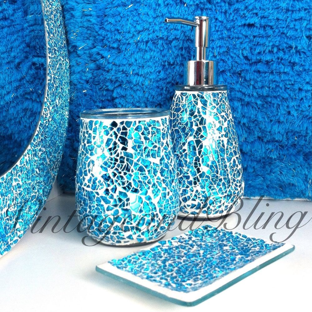 Blue Sparkle Crackle Glass Bathroom Accessory Set Tumbler Dispenser