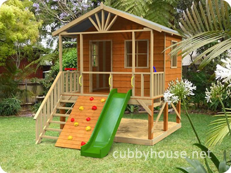 Kookaburra loft cubby house australian made wooden cubby for Garden playhouse plans