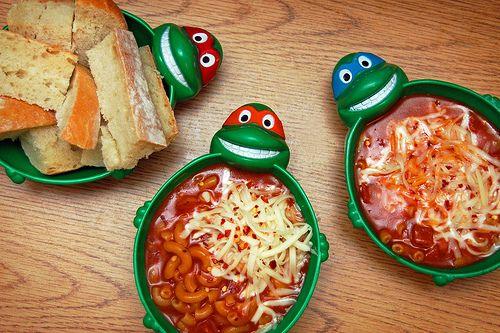 Cowabunga! Pepperoni Pizza Soup in Ninja Turtle Bowls