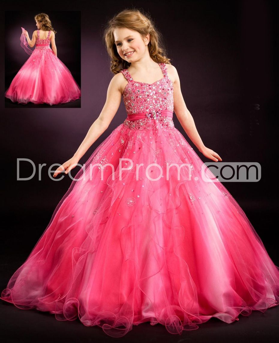 Elegant A-Line Straps Floo-length Sequins Flower Girl Dresses ...