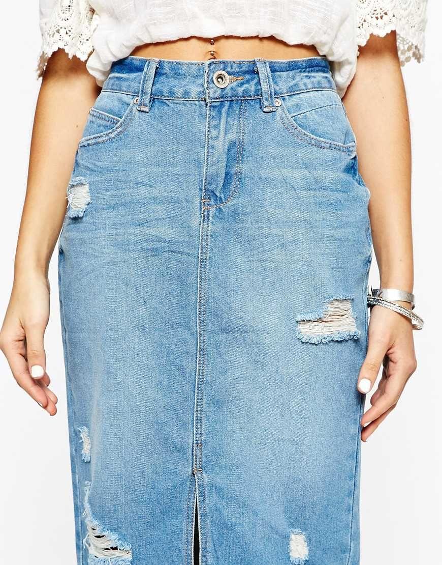 New Look Denim 70's Split Front Pencil Skirt - http://asos.do ...