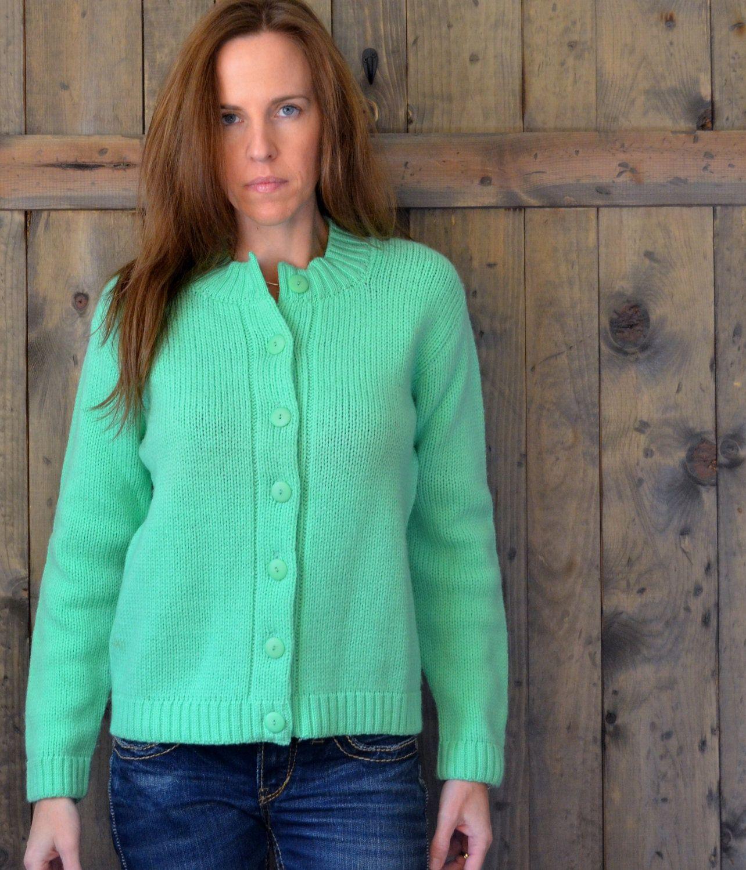 Vintage 50s 60s wool mint green cardigan sweater by PerennialPast, $38.00