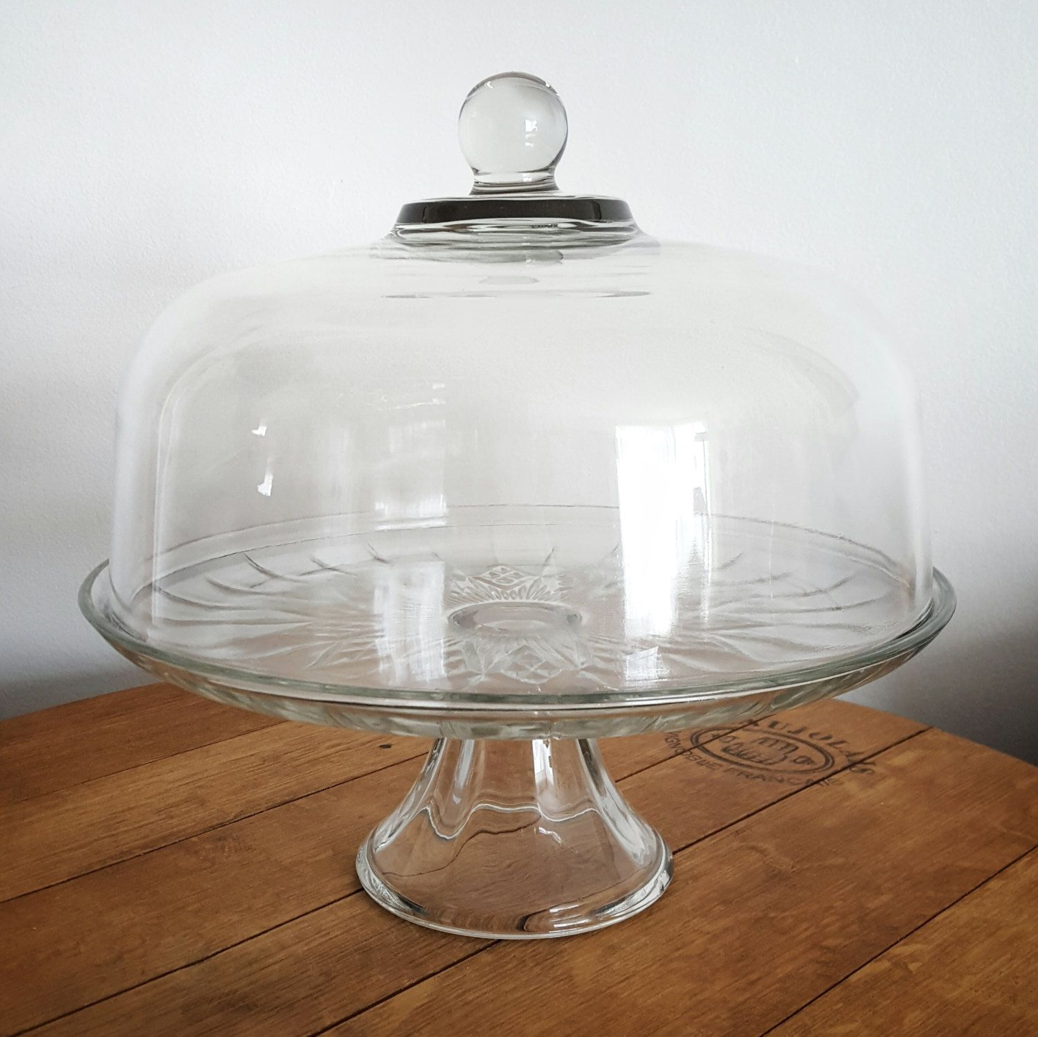 Vintage cake stand with dome cover glass pedestal cake