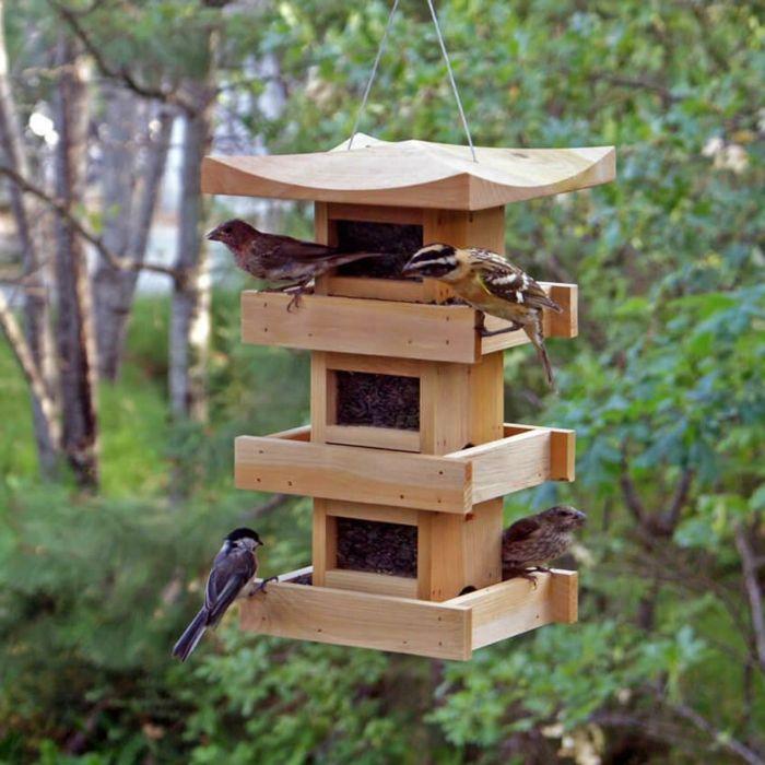 1001 id es cr atives pour mangeoire oiseaux fabriquer soi m me mangeoire oiseau mangeoire - Maison oiseau bois ...