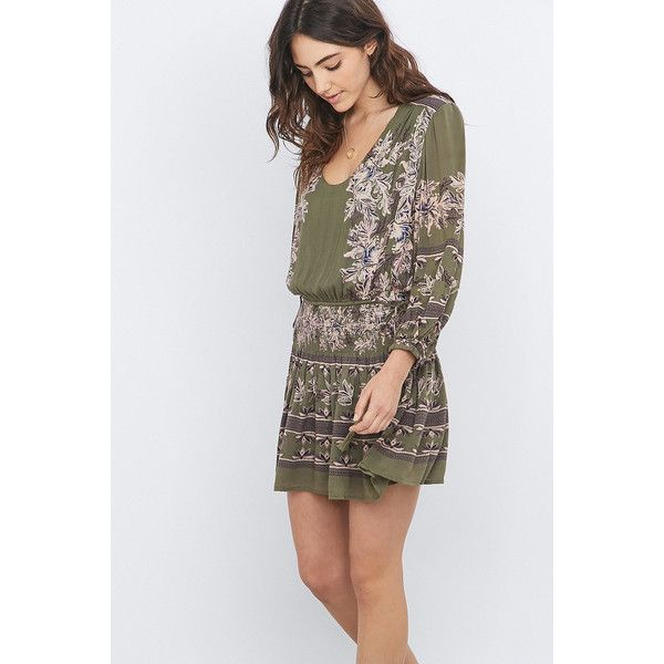 d7f9e34cc364 Free People Moonlight Floral Print Mini Dress (245 BGN) ❤ liked on Polyvore  featuring dresses