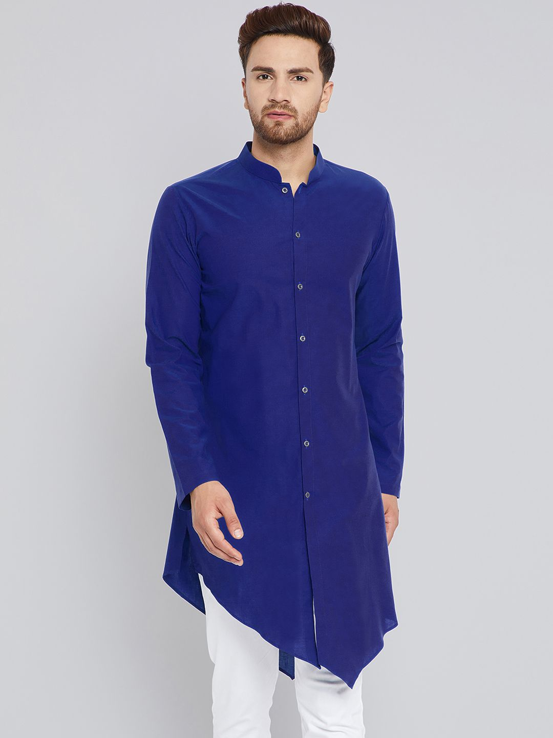 e521a7b6 See Designs Men Blue Solid Straight Kurta - | 1124 | Ethnic Wear For ...