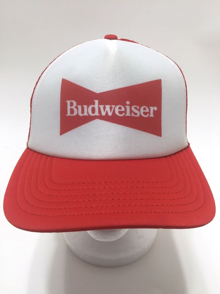 0eea29710b7c6 Details about Budweiser Red and White Foam Trucker Mesh Snapback Hat ...