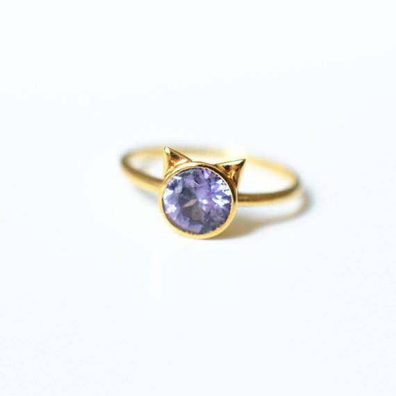 Cat Engagement Ring Purple Spinel Gold 18k 14k Wedding