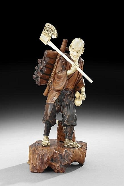 Sold Price: Japanese Figure of a Wood Cutter - March 6, 0114 10:00 AM CDT | Wood cutter, Japanese, Wood art