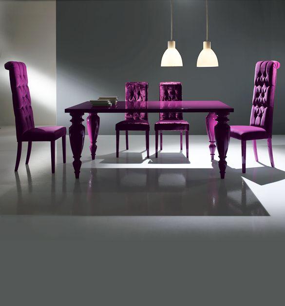 Purple Dining Table Set Gl N Mirrors