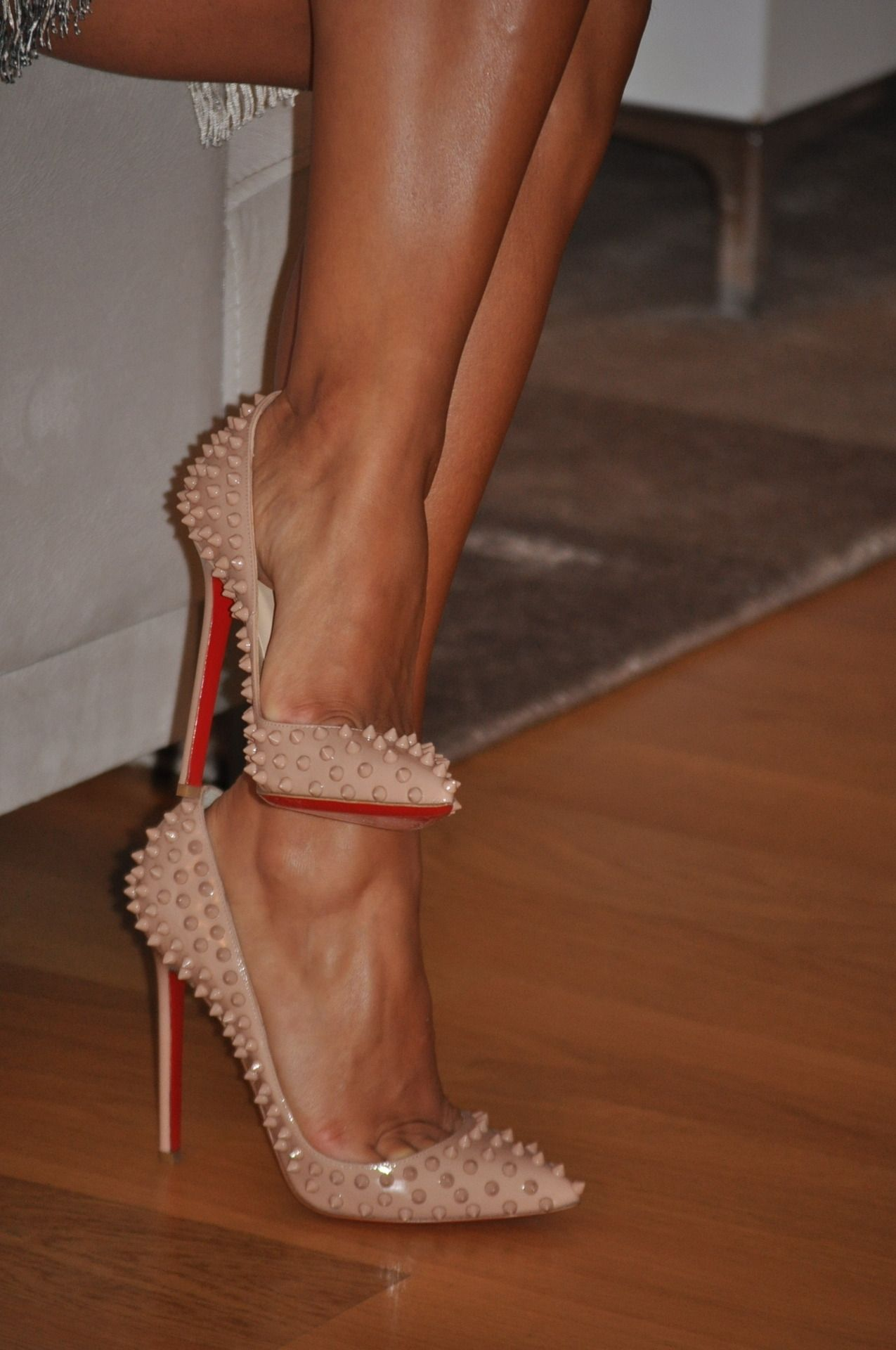 45b260a48fce Christian Louboutin Nude Studded Pumps  CL  Louboutins  Shoes