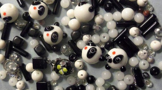 Black and White beads bead lots Mixed lots by RosariesbyEsther