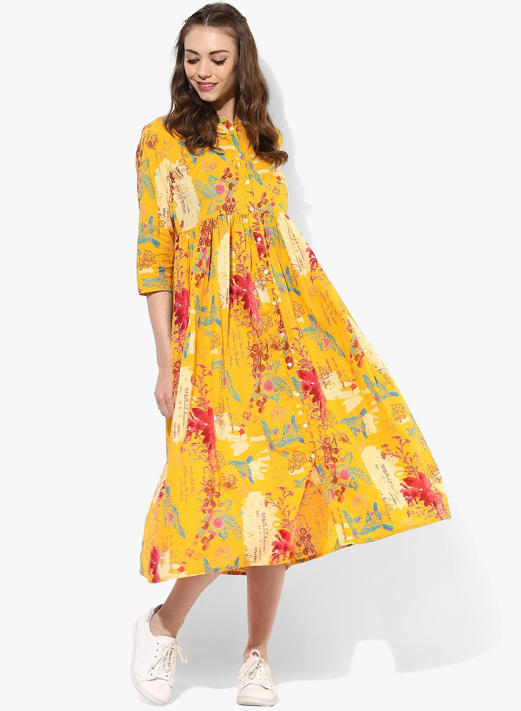 b657d68594 Buy Sangria Yellow Cotton Floral Frock Style Kurti online in India at best  price.The distinctive mix of floral, splash and text print of this yellow  kurti ...