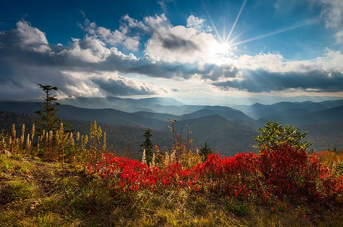 Blue Ridge Parkway Autumn Colors Scenic Landscape Photography Asheville NC