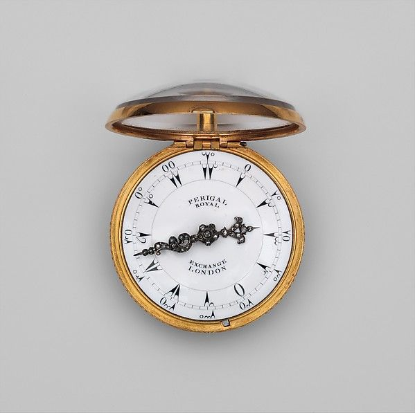Repeating watch Movement by Francis Perigal (British, active 1741–67)  or Francis Perigal Jr. (British, active 1778–1809)  Date:     probably ca. 1770  Culture:     British, London, made for Turkish market  Medium:     Dial: white enamel with black numerals and silver hands set with diamonds; Movement: gilded brass and partly blued steel