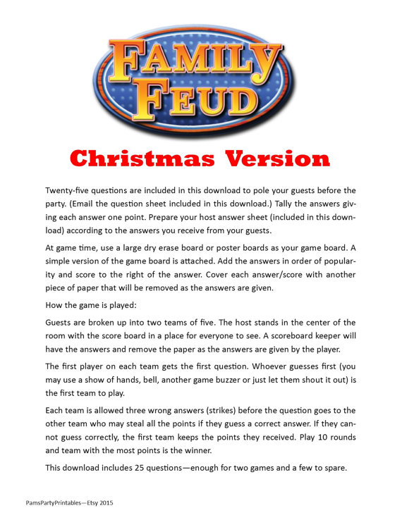 Christmas Family Feud - Printable Game - Christmas Family Game