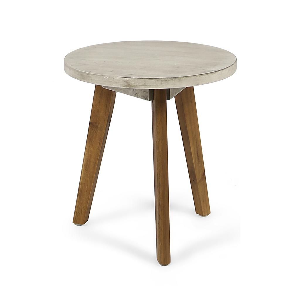 Le House Marina Light Gray Round Wood Outdoor Side Table
