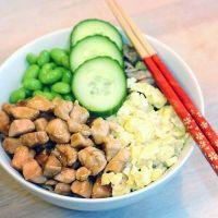 Teriyaki kylling med grøntsager og æg