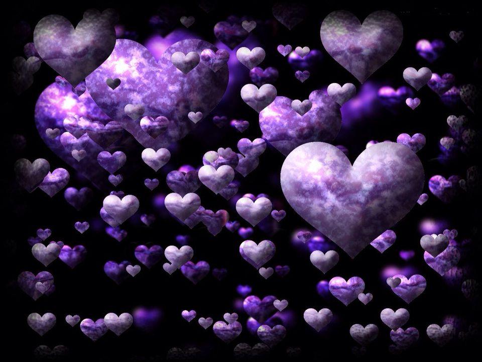 Purple Floating Hearts
