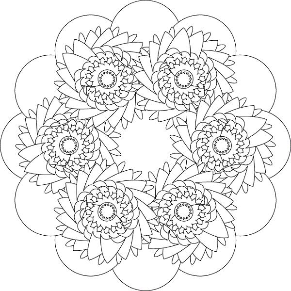 Intermediate Flower Coloring Pages Boyama Sayfalari Desenler Cizimler