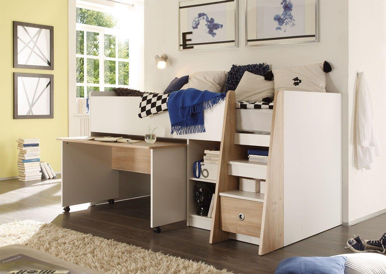 Etagenbett Kiefer Weiß Stockholm 4 Dahlhaus : Hochbett in sonoma eiche nachbildung mit absetzungen weiß und