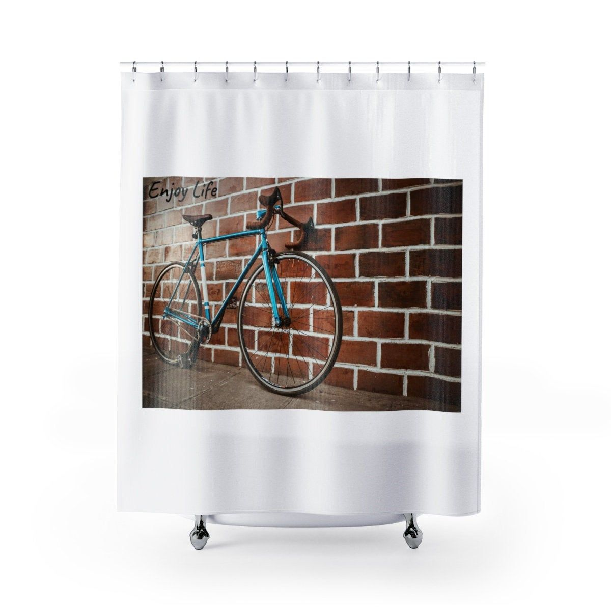 Bicycle Shower Curtain Cyclist Shower Curtain Inspirational Shower Curtain Bicycle Decor Cyclist Bath Decor Bicycle Bath Set In 2020 Bath Decor Bicycle Decor Shower Curtain