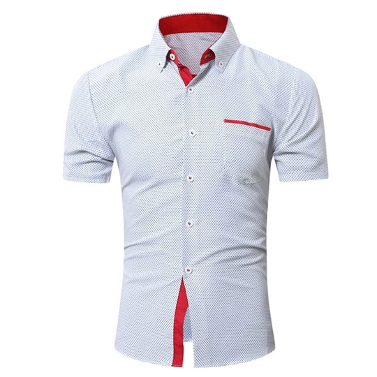 Chamsgend Blouse Men Casual Slim Short Sleeve Dot Print Formal Business Shirts Summer Male Tops 80322
