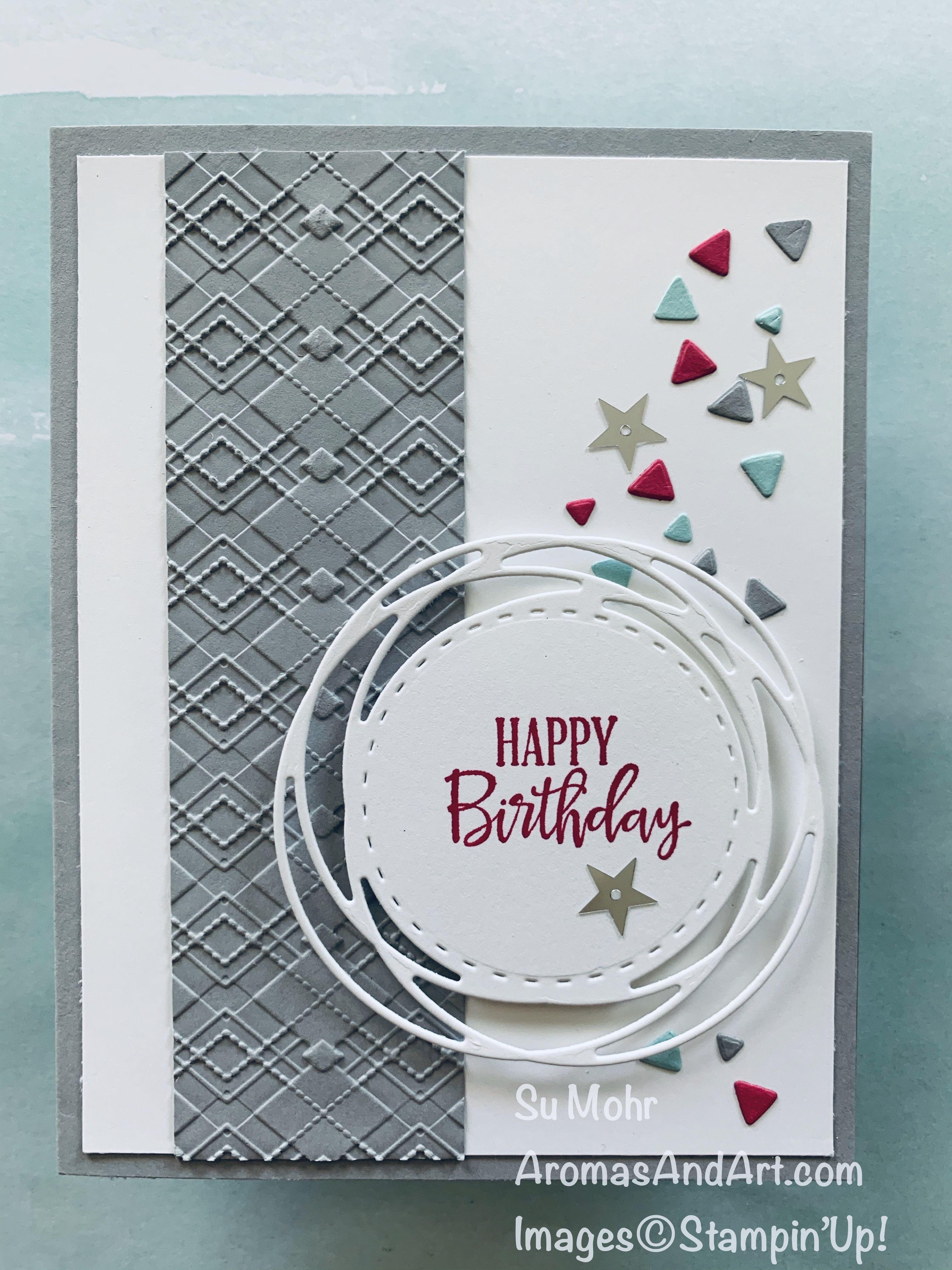 Masculine Argyle Birthday Card - Aromas and Art