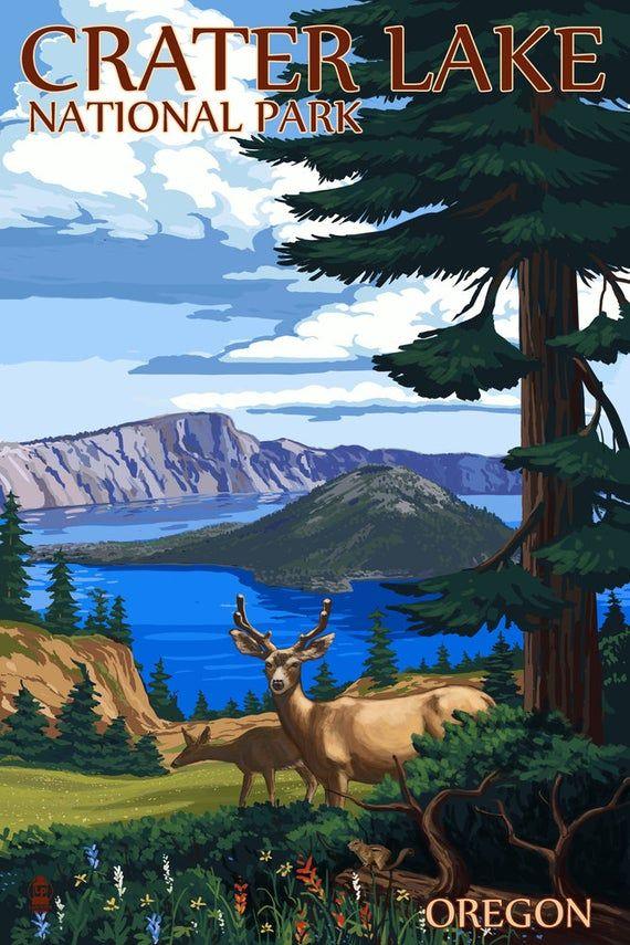 Crater Lake National Park, Oregon - Deer Family (9x12 Art Print, Wall Decor Travel Poster)