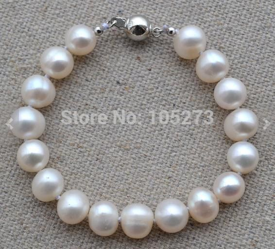 New Arriver Pearl Bracelet 7.5 Inches 9-10mm White Color Freshwater Pearl Wedding Bracelet Friend Gift Free Shipping