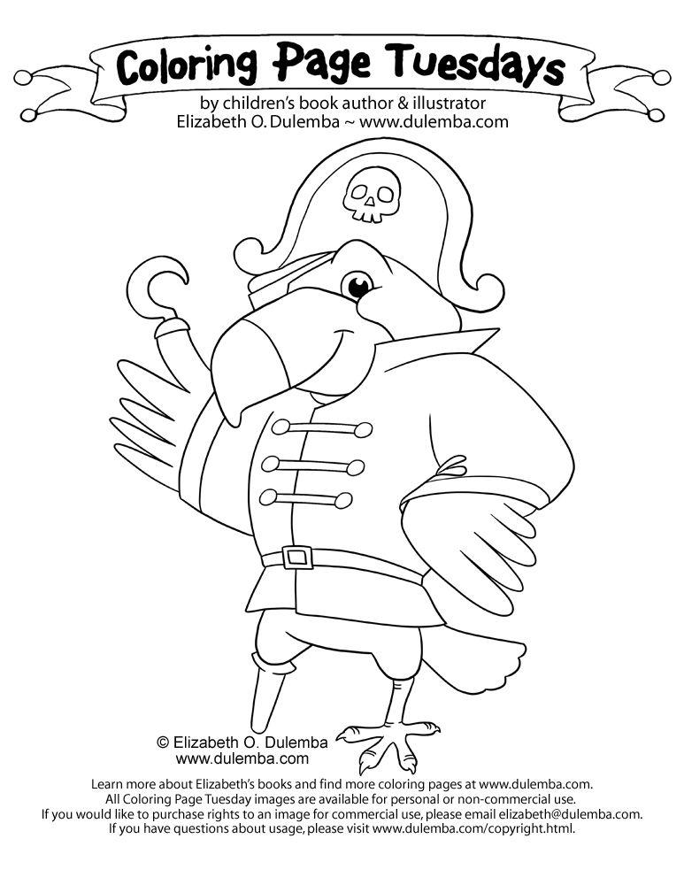 Dulemba Coloring Page Tuesday Pirate Parrot Kleurplaat