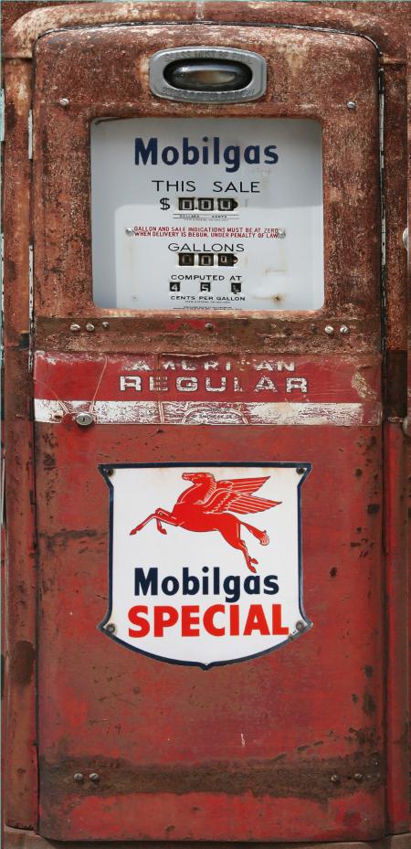 Mobilgas Special Red Rust Gas Pump Refrigerator Wrap