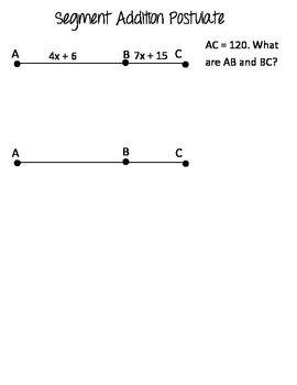 Geometry Basics Segment Addition Postulate Worksheet ...