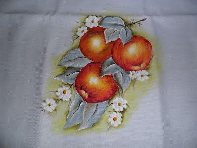 Penca de maçãs, pintura em tecido