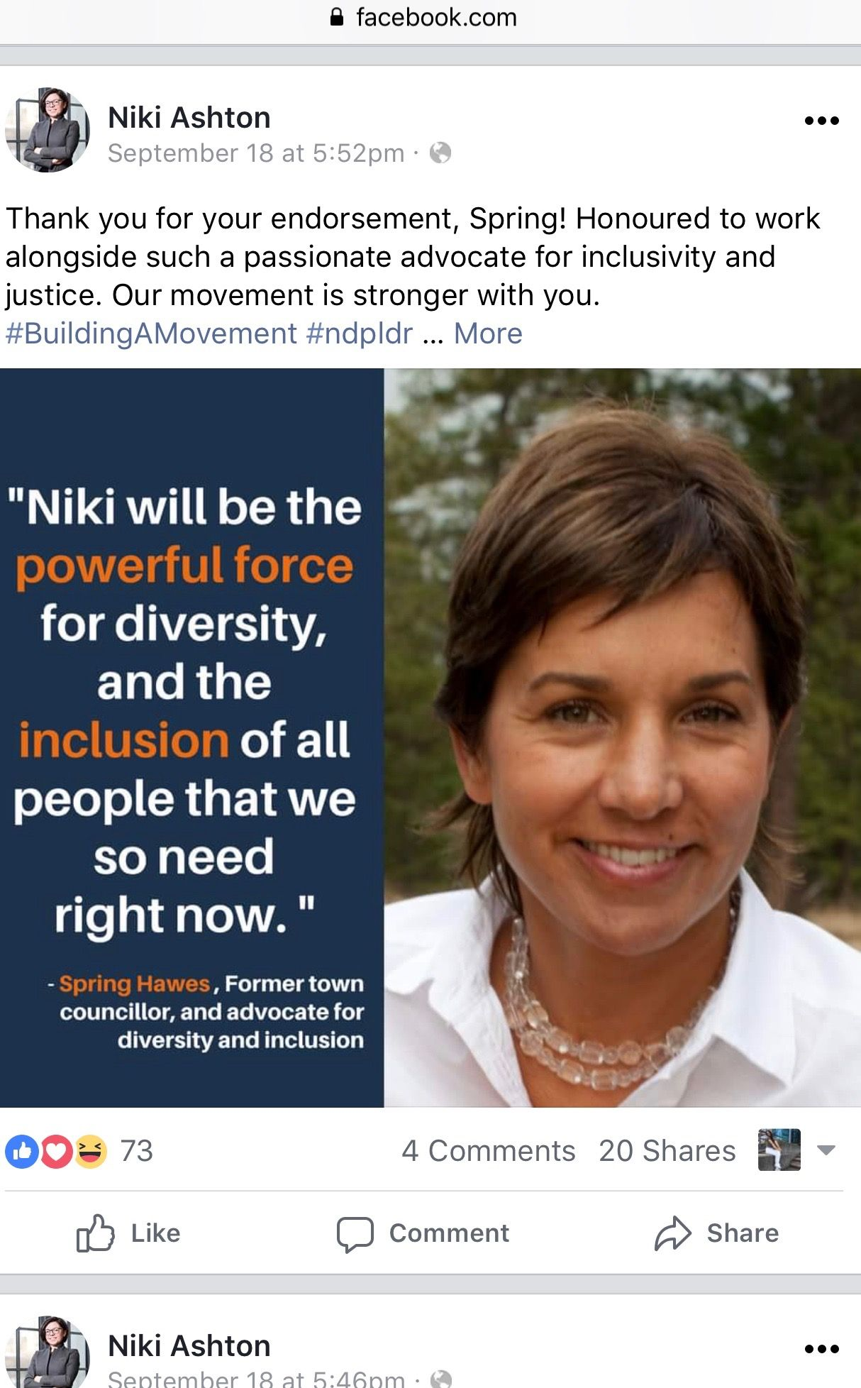 This Is Screenshot Of One Of The Posts Niki Ashton Posted On Her Facebook Page A Lot Of People Support Her By Saying She Should Be A Nd Movement Advocate Inga