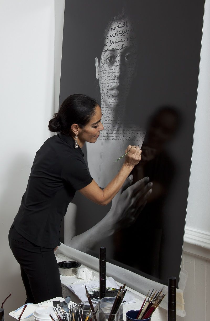 Shirin neshat in her studio working on roja from the book of kings series photo david regen
