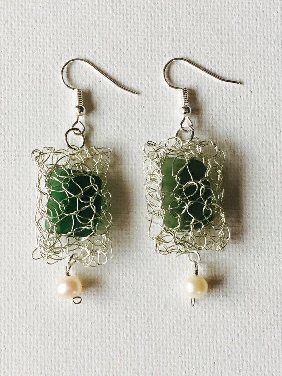Hawaii Sea Glass Silver Crochet Wire Earrings With Fresh Water