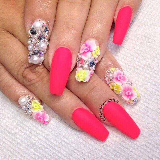 Nails By: Mz Tina   Squoval nails, Summer acrylic nails