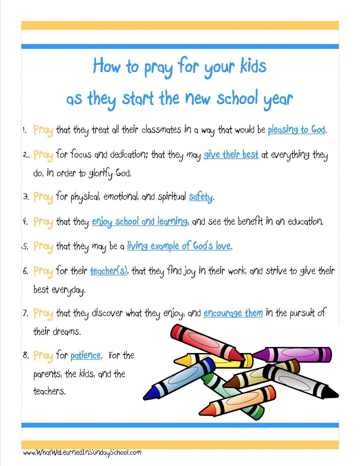 What We Learned In Sunday School New School Year Prayers